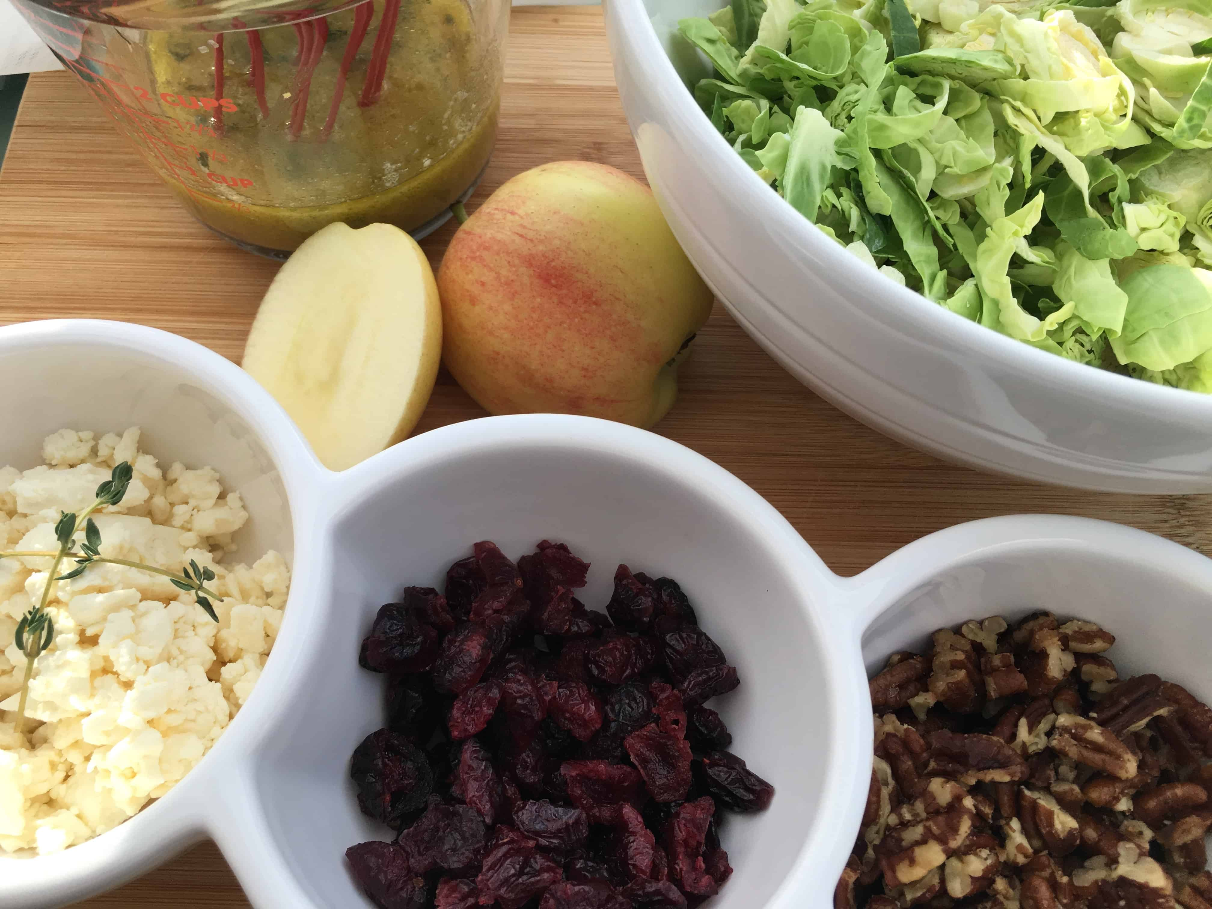 Brussels Sprout, Apple and Cranberry Salad Components