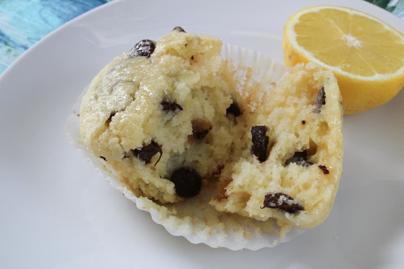 Lemon Chocolate Chip Muffins - Broken Apart