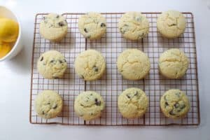 Lemon Chocolate Chip Muffins - Cooling
