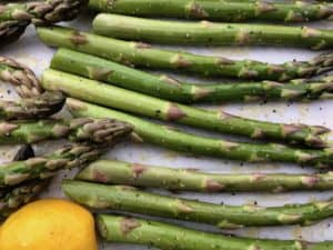 asparagus ready to go into oven