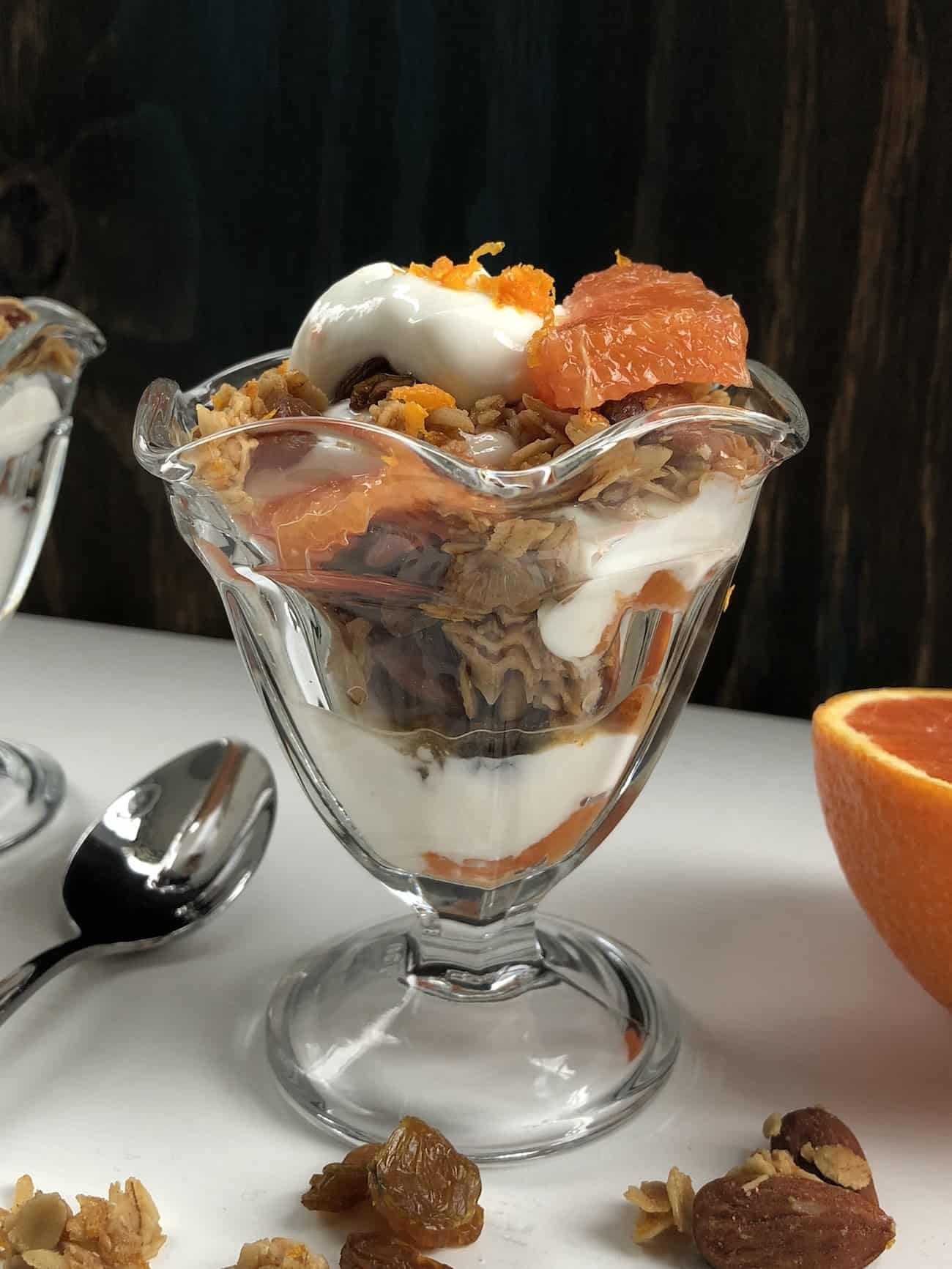 Orange and Yogurt Parfaits From the Side