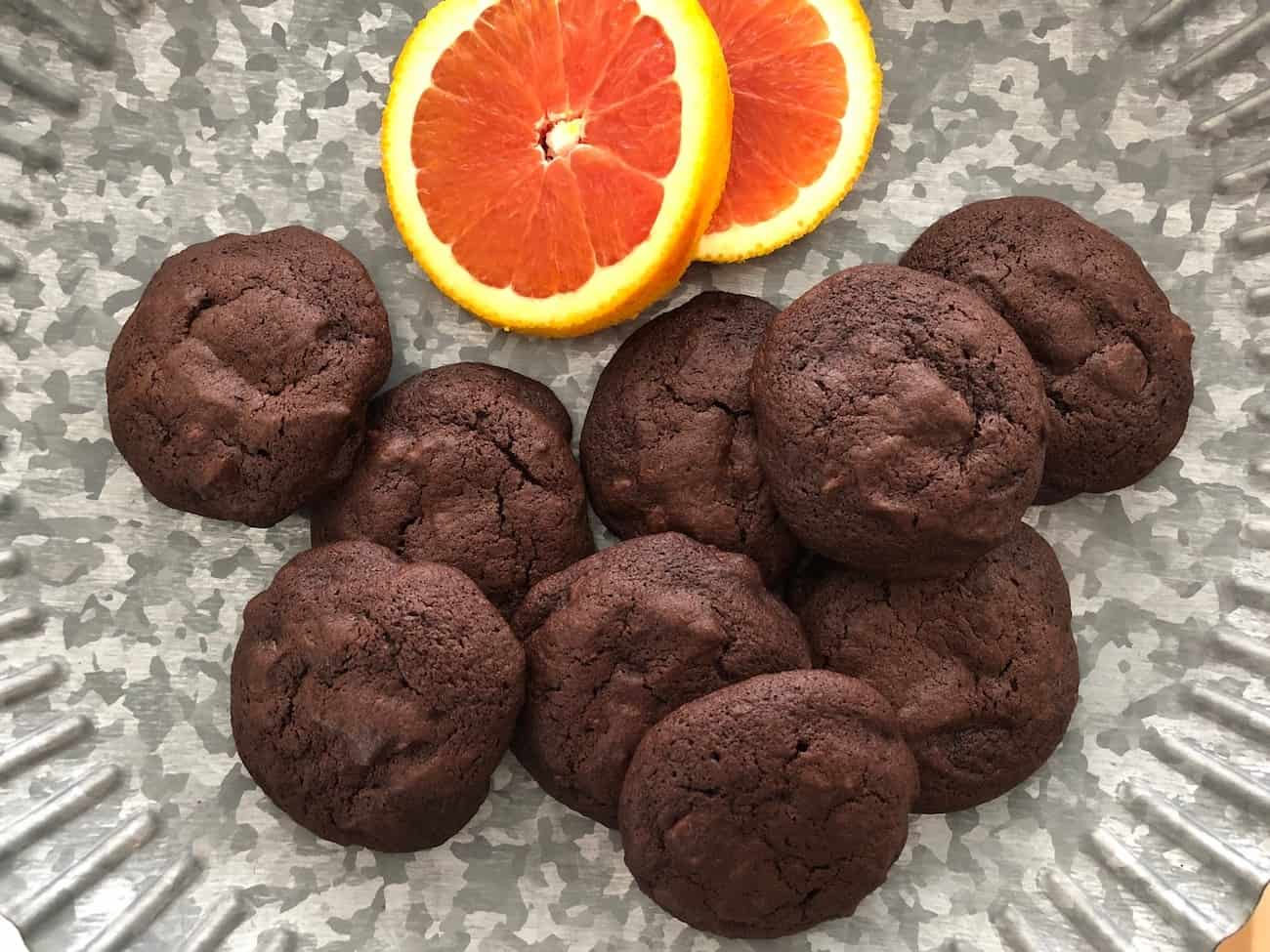chocolate orange chocolate chip cookies on galvanized metal stand top viewJPG
