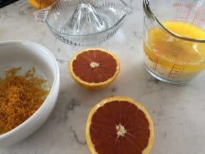 liquid ingredients for orange bundlette cakes