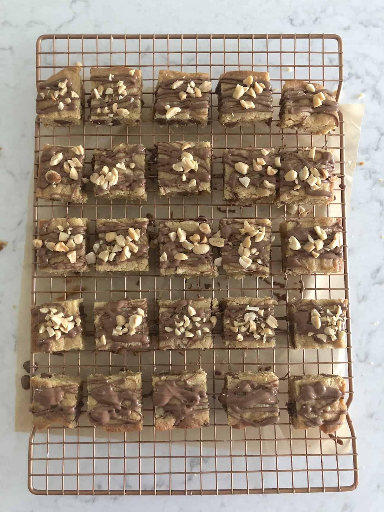 peanut butter milk chocolate chip blondies with peanuts