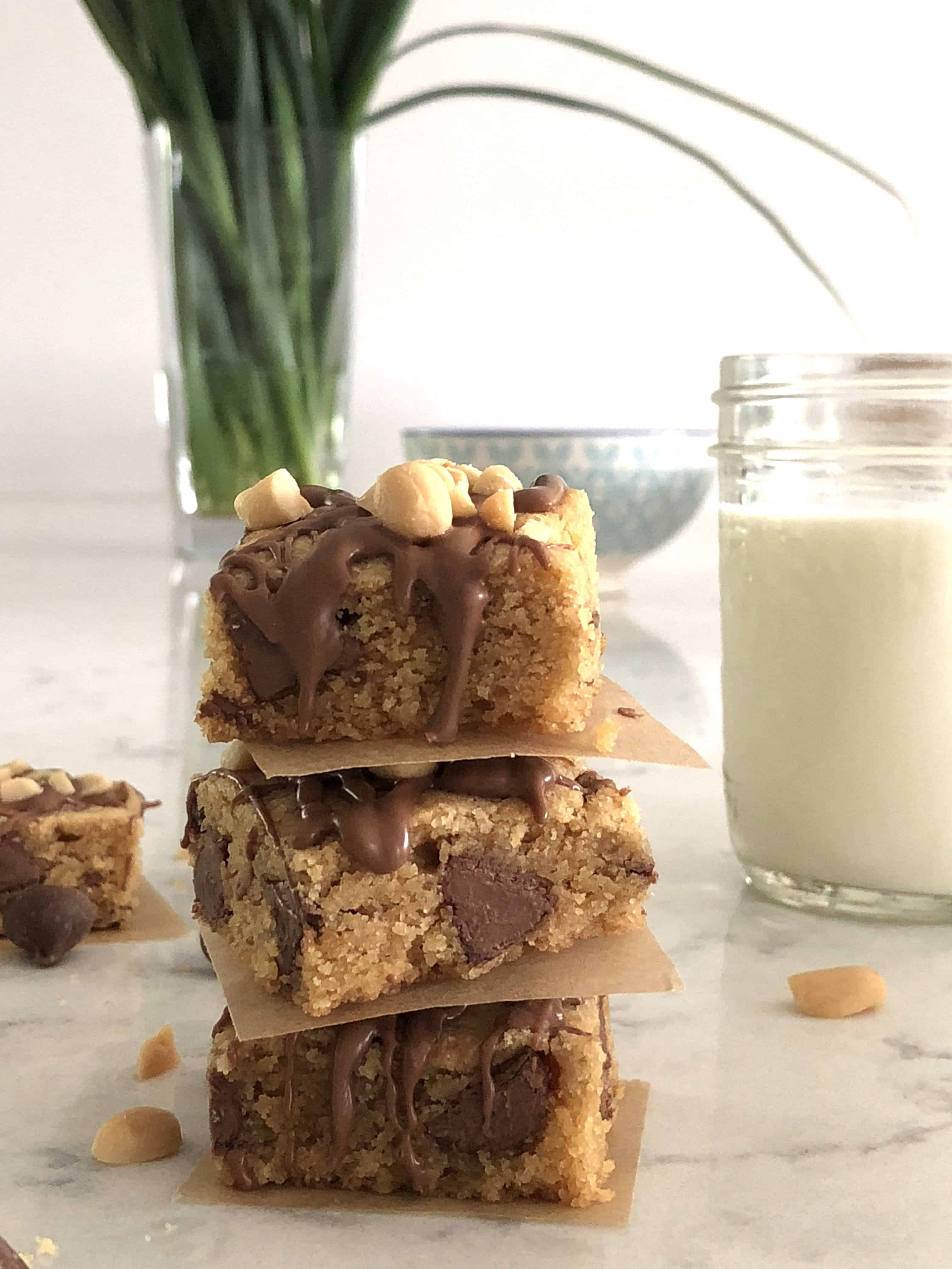 stack of peanut butter blondies