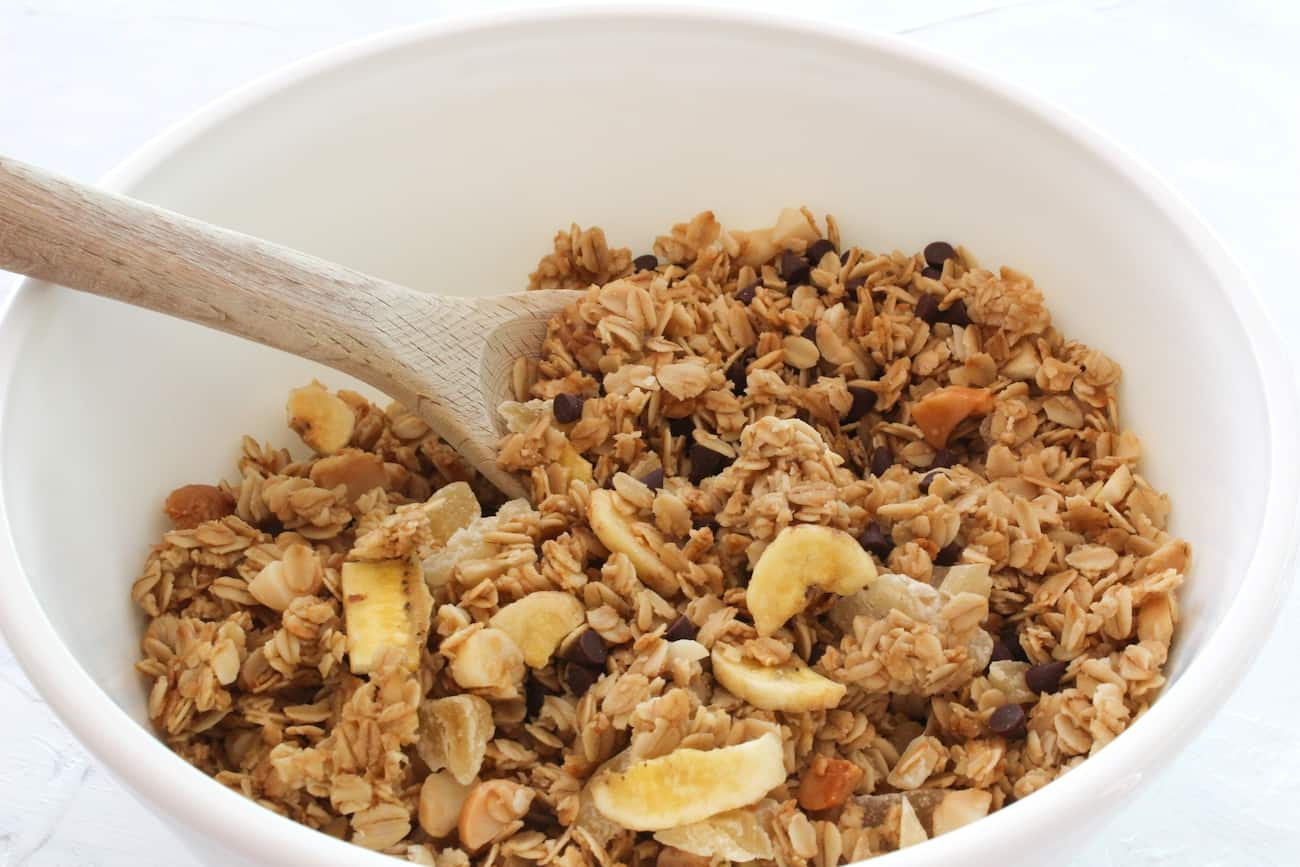 large bowl of chunky monkey granola