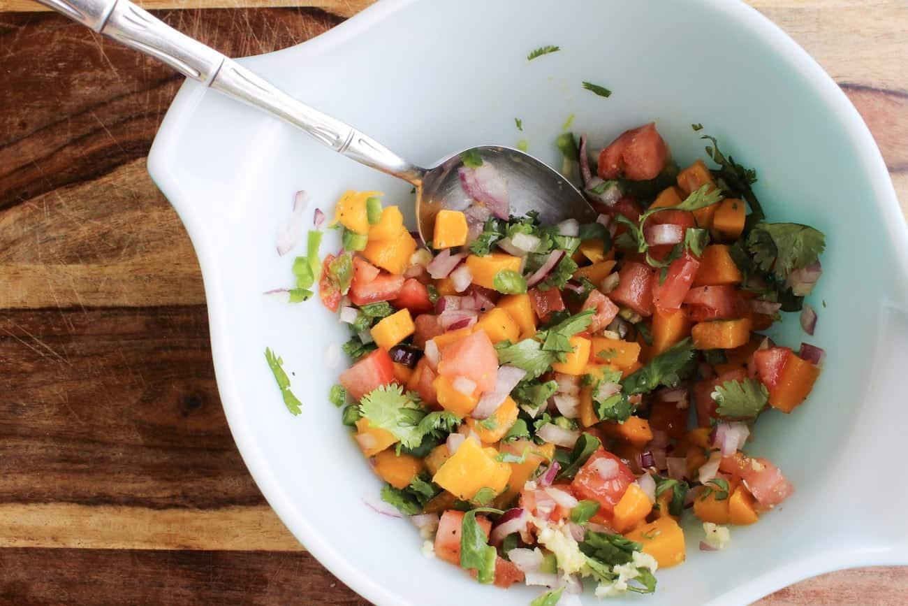 prepped veggies for mango guacamole