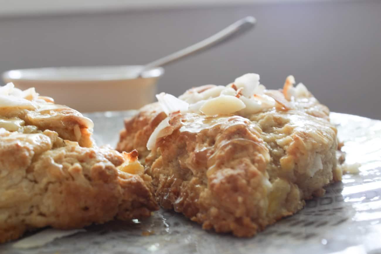 pineapple coconut scones up close