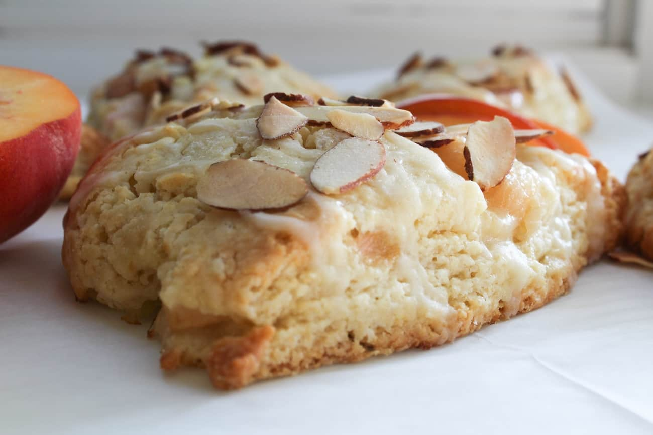 almond peach scone on parchment