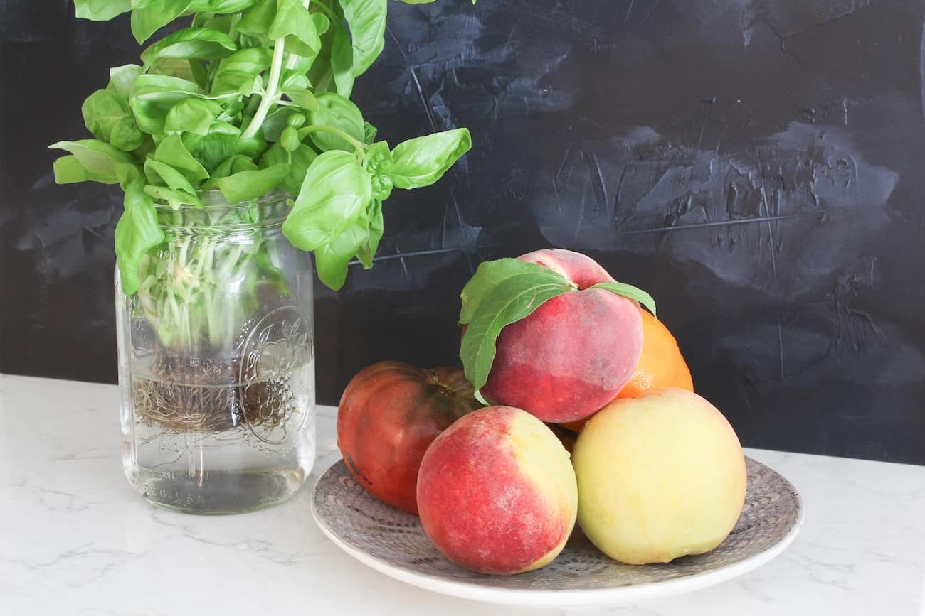 peaches, tomatoes and basil