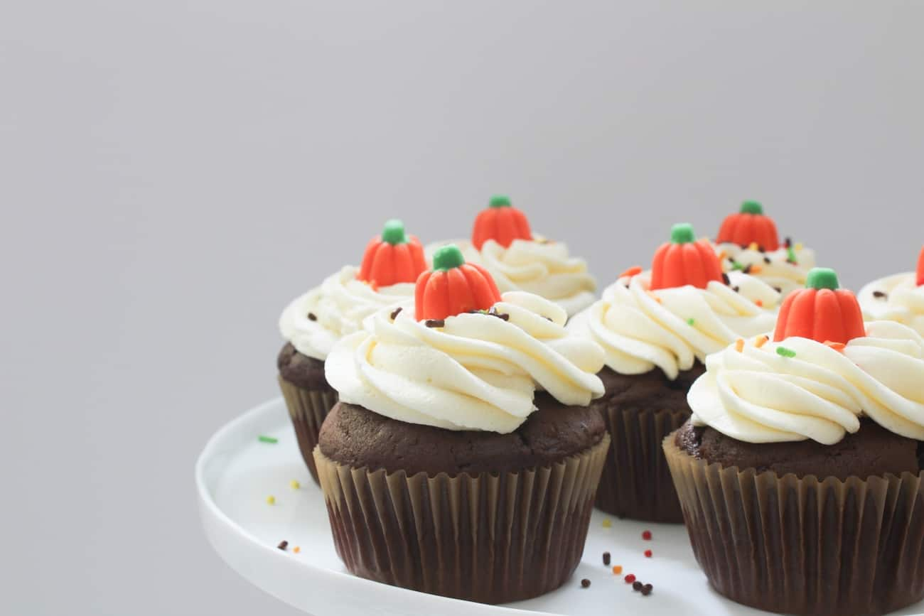 chocolate cupcakes with vanilla buttercream and sprinkles on cake stand