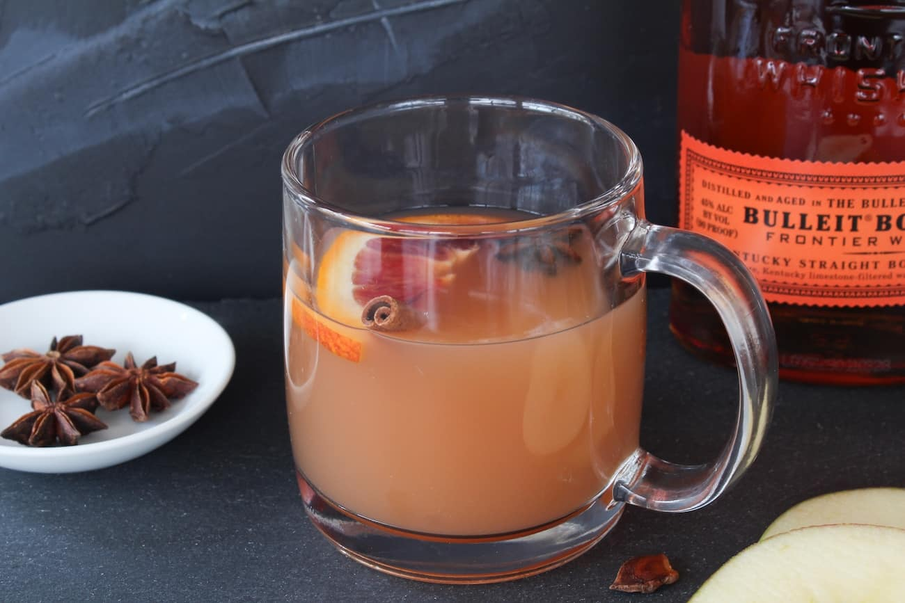 warm apple cider with bulleit