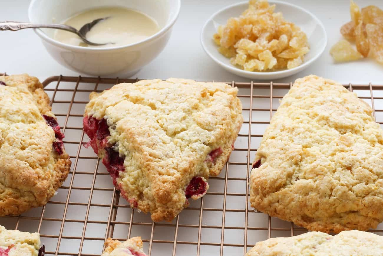 ginger cranberry scones ready for garnishes