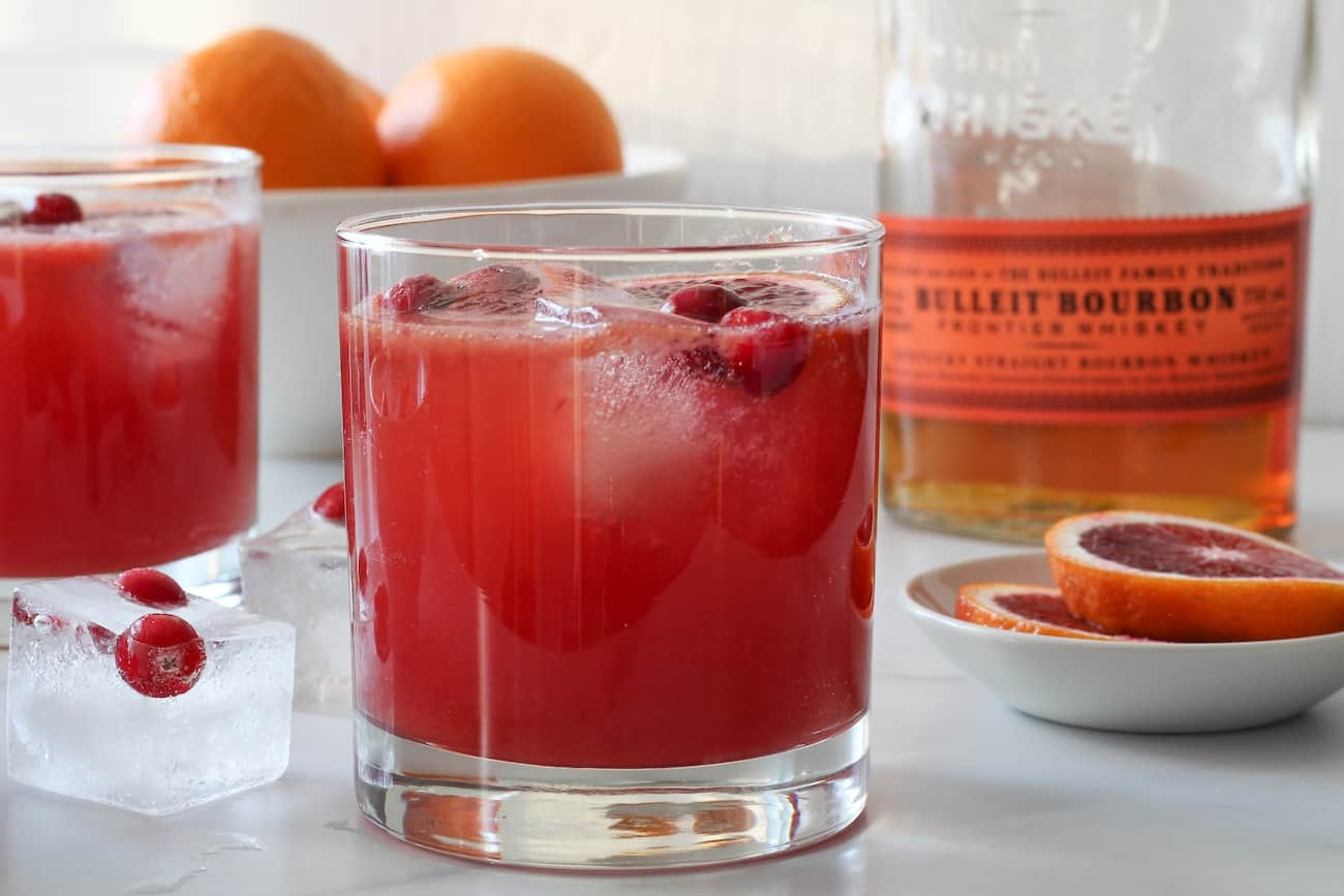 blood orange bourbon smash with oranges