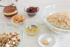 ingredients for ginger cranberry granola