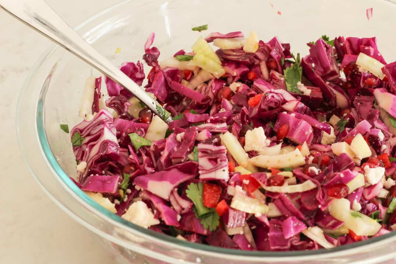 winter slaw in glass miing bowl