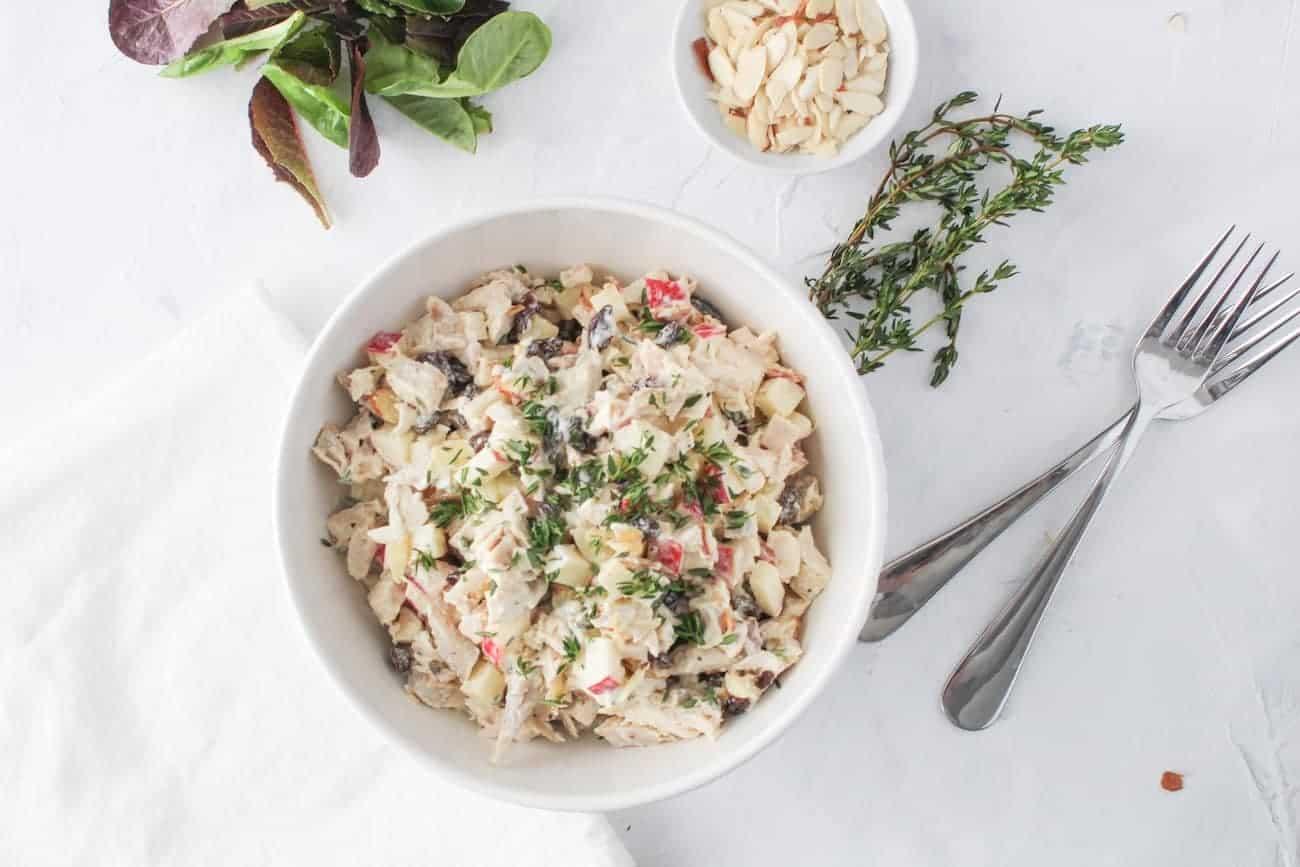 chicken salad in serving bowl