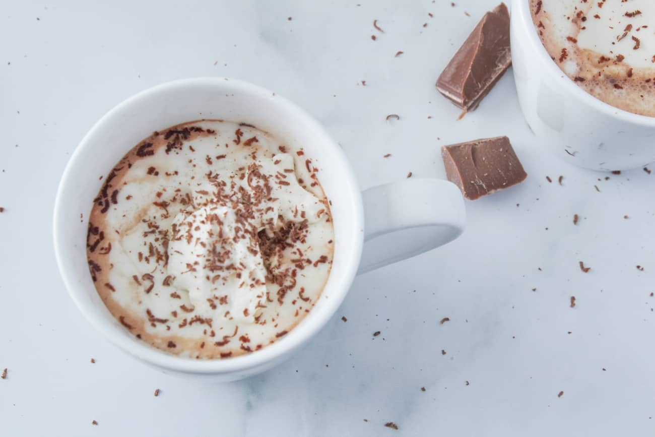 hot chocoalte on marble