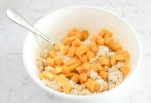 adding mango to scones