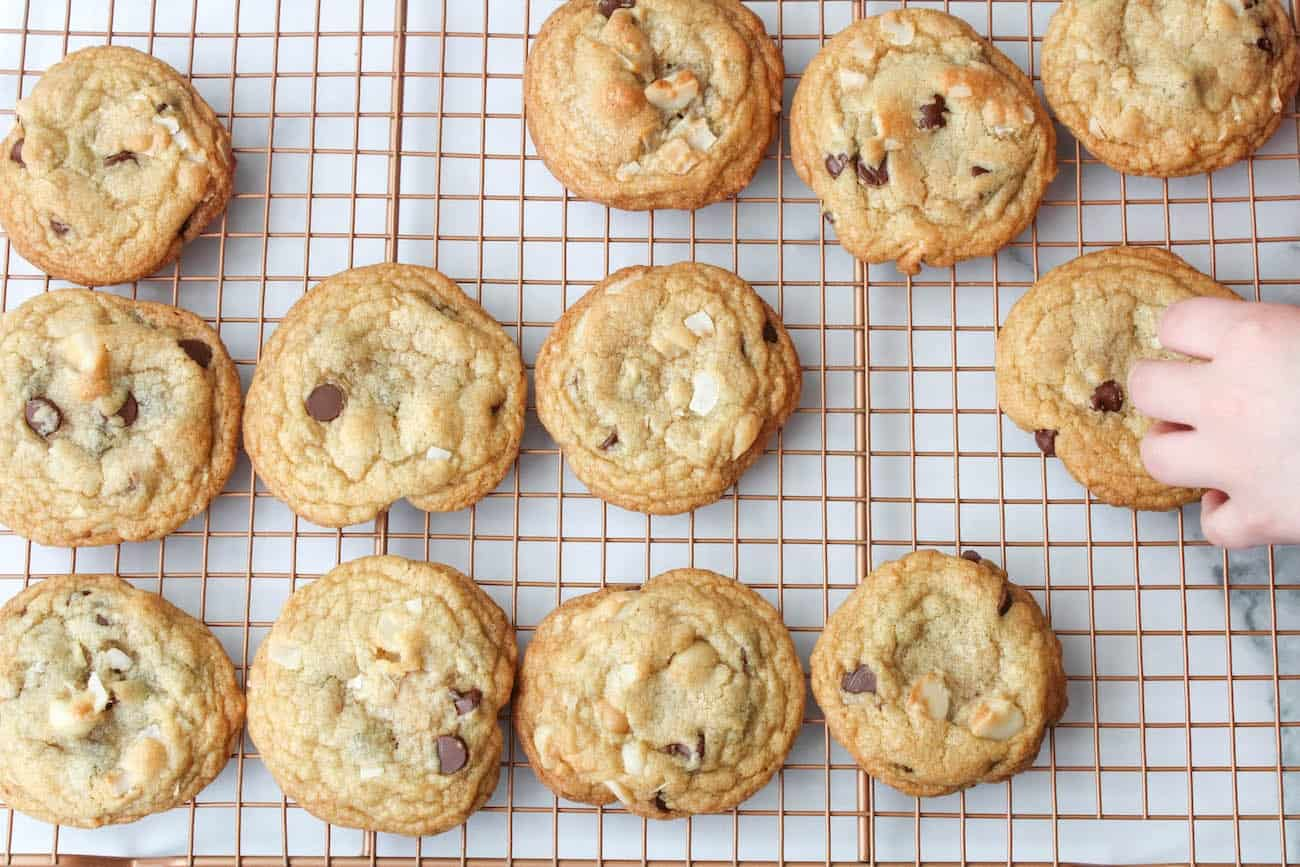 coconut chocolate chip cookies on cooling rack